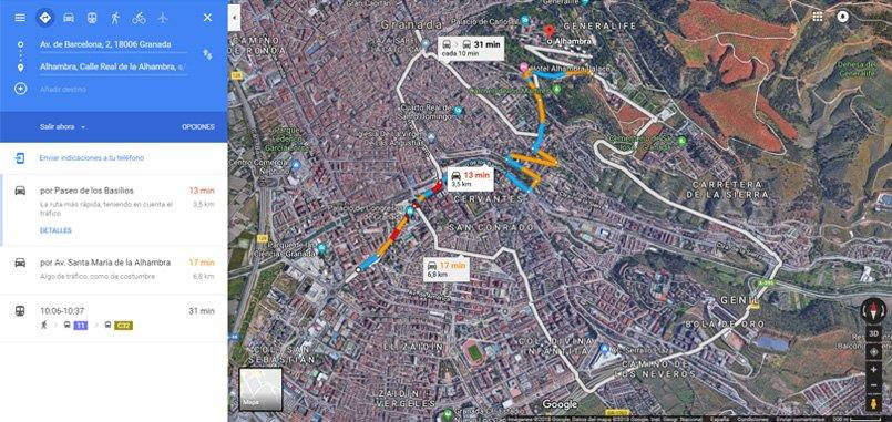 Google Maps generar ruta